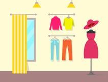 Przyjemny wnętrze sklep odzieżowy, koloru plakat ilustracji
