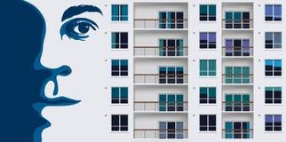Przykład ścienna dekoracja przedstawia gigantyczną twarz na budynku mieszkalnym royalty ilustracja