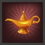 Przykład otrzymywać kreskówki złotego osiągnięcia magiczną lampę z krasnoludkami dla gra ekranu Obraz Royalty Free