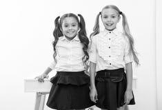 Przykład podążać Uczennicy z śliczną koników ogonów fryzurą Najlepszych przyjaciół znakomici ucznie Perfect uczennicy z obrazy royalty free