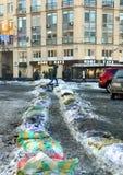 Przykop lód na ulicach Kyiv obrazy stock