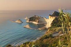 Przylądek Drastis przy Corfu wyspą, Grecja zdjęcia royalty free