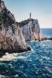 Przylądek Lefkada, Lefkas falezy w południowej normie lub latarnia morska i obrazy stock