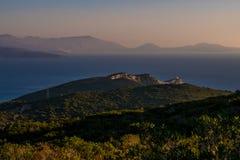 Przylądek Lefkatas po podczas zmierzchu na wyspie Lefkada w Grecja zdjęcia stock