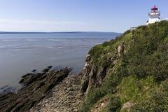 Przylądek Rozwściecza latarnię morską w Nowym Brunswick w Kanada Zdjęcia Stock