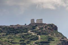 Przylądek Sounion i okres świątynia Poseidon Lavreotiki zarząd miasta, wschód Attica, Grecja zdjęcia royalty free