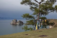 Przylądka Burhan i szamanu skała na Olkhon wyspie przy Baikal jeziorem Zdjęcie Royalty Free