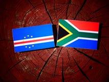Przylądka Verde flaga z południe - afrykanin flaga na drzewnym fiszorku odizolowywającym Fotografia Royalty Free