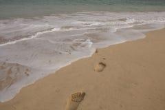 Przylądka Verde plaży odciski stopy obraz stock