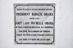 Przylądka wybrzeża kasztelu Obama plakieta, Ghana zdjęcie stock