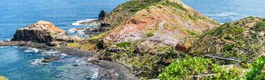 Przylądek Schanck i ambona Rockowy panoramiczny widok Wiktoria, Australi, - Obraz Royalty Free