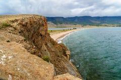 Przylądek Uyuga Maloe Bardziej na Jeziornym Baikal Rosja Zdjęcia Stock