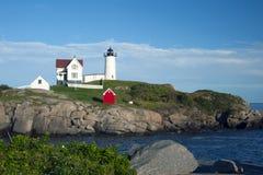 Przylądka Neddick latarnia morska na letnim dniu w Maine Zdjęcie Stock
