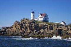 Przylądka Neddick ` Nubble ` latarnia morska, Jork, Maine Fotografia Stock