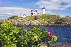 Przylądka Neddick ` Nubble ` latarnia morska, Jork, Maine Zdjęcie Stock