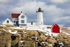 Przylądka Neddick ` Nubble ` latarnia morska, Jork, Maine Zdjęcia Stock
