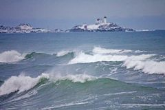 Przylądka Neddick ` Nubble ` latarnia morska, Jork, Maine Obrazy Stock