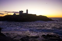 Przylądka Neddick ` Nubble ` latarnia morska, Jork, Maine Obraz Royalty Free