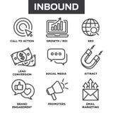 Przylatujące Marketingowe Wektorowe ikony z przyrostem, roi, wezwanie akcja, ilustracja wektor