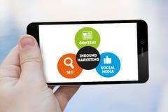 Przylatujący Marketingowy telefon komórkowy Zdjęcie Stock