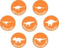 Przylepiający etykietkę dinosaur Round ikona Ustalona pomarańcze Obraz Stock