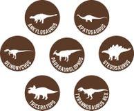 Przylepiający etykietkę dinosaur Round ikona Ustalony Brown Zdjęcia Stock