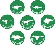 Przylepiający etykietkę dinosaur Round ikona Ustalony Ciemnozielony Fotografia Stock