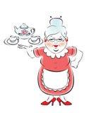 przyniesiona babcia teapot mój taca tw royalty ilustracja