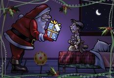 przynosi prezenta Santa dodatek specjalny Zdjęcie Royalty Free