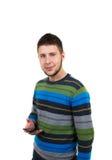 Przypadkowa chłopiec z telefonem komórkowym Obraz Royalty Free