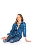 przypadkowa siedząca kobieta zdjęcia stock