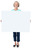 Przypadkowa stara dama trzyma pustego billboard Obraz Stock
