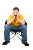 przypadkowe krzesło człowieka na posiedzenia zmartwiona white Obraz Stock