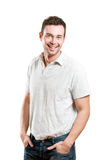 przypadkowego szczęśliwego mężczyzna uśmiechnięci potomstwa Obraz Royalty Free