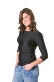 przypadkowi żeńscy cajgi tęsk koszulowy rękaw t Zdjęcie Royalty Free