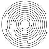 Przypadkowi koncentryczni okręgi z kropkami Kurenda, spirala projekta ele ilustracja wektor