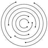 Przypadkowi koncentryczni okręgi z kropkami Kurenda, spirala projekta ele ilustracji