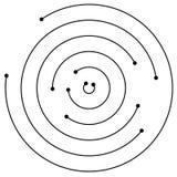 Przypadkowi koncentryczni okręgi z kropkami Kurenda, spirala projekta ele Obrazy Stock