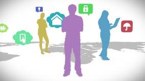 Przypadkowi ludzie stoi na mapie z app ikonami royalty ilustracja