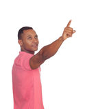 Przypadkowy łaciński mężczyzna wskazuje coś Zdjęcie Royalty Free