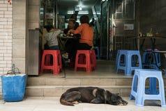 Przypadkowy życie w Tai O wiosce, Lantau wyspa fotografia royalty free