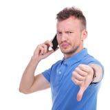 Przypadkowy młody człowiek otrzymywa złą wiadomość Zdjęcia Stock