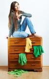 Przypadkowy nastolatek dziewczyny portret Pięknej młodej kobiety przypadkowy stu Zdjęcia Royalty Free