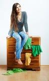 Przypadkowy nastolatek dziewczyny portret Pięknej młodej kobiety przypadkowy stu Obraz Stock