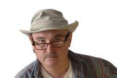 Przypadkowy osoba z wyżu demograficznego w kapeluszu i szkłach Zdjęcia Royalty Free