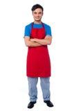 Przypadkowy pełny długość portret męski szef kuchni Obraz Stock