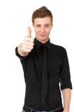 przypadkowy szczęśliwy mężczyzna seans kciuk w górę potomstw Obrazy Stock