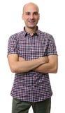 Przypadkowy trensy łysy mężczyzna jest ubranym koszula fotografia stock