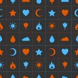 Przypadkowych abstrakcjonistycznych ikon bezszwowy wzór Zdjęcie Stock