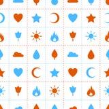 Przypadkowych abstrakcjonistycznych ikon bezszwowy wzór Zdjęcia Stock